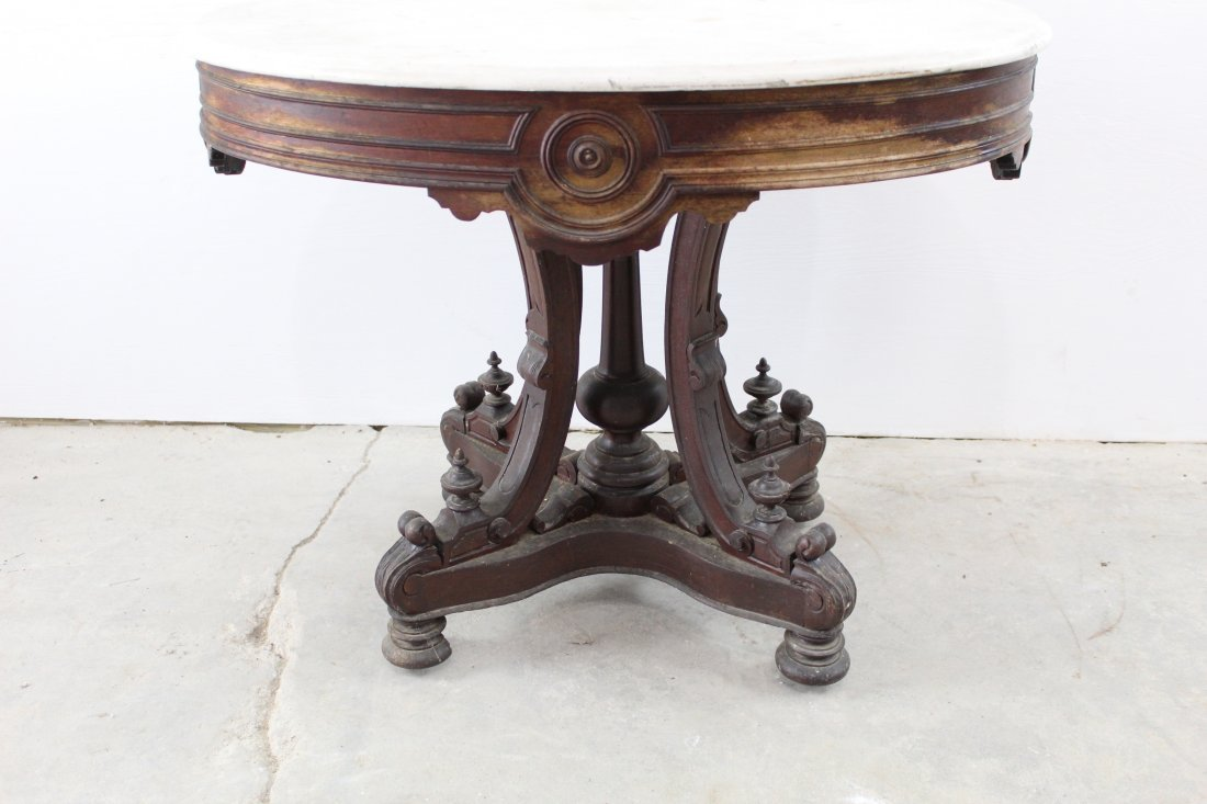 Impressive Victorian Oval Marble Top Table