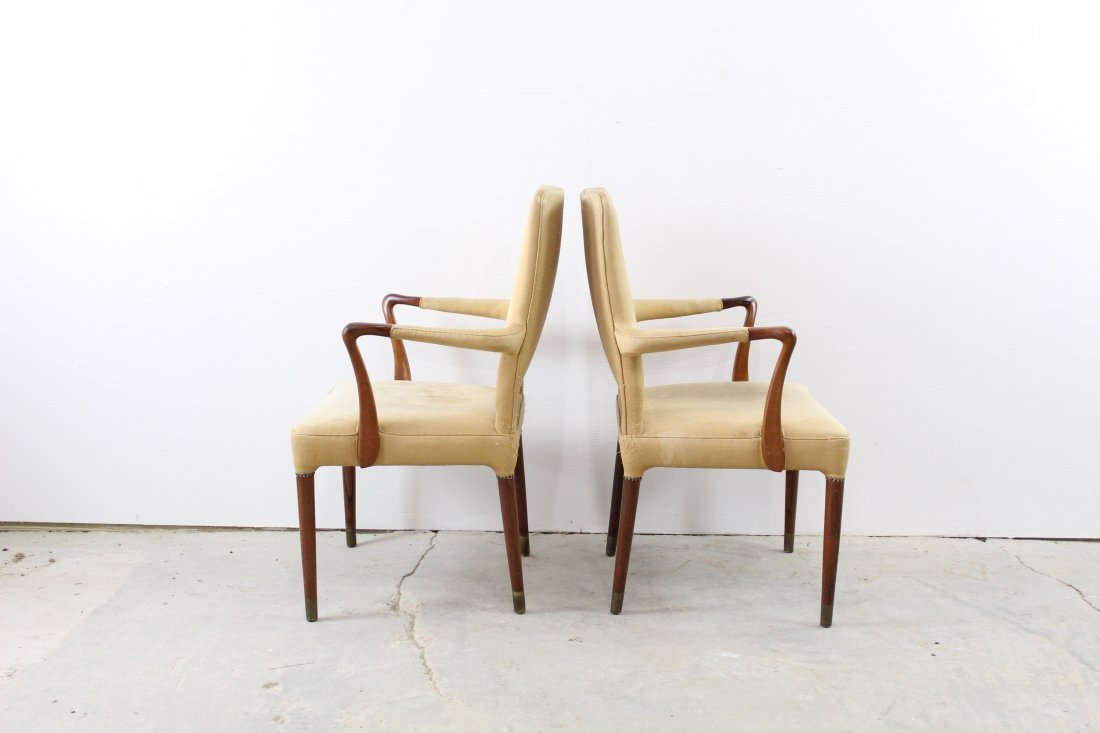 Pair Tan Silk Upholstered Arm Chairs