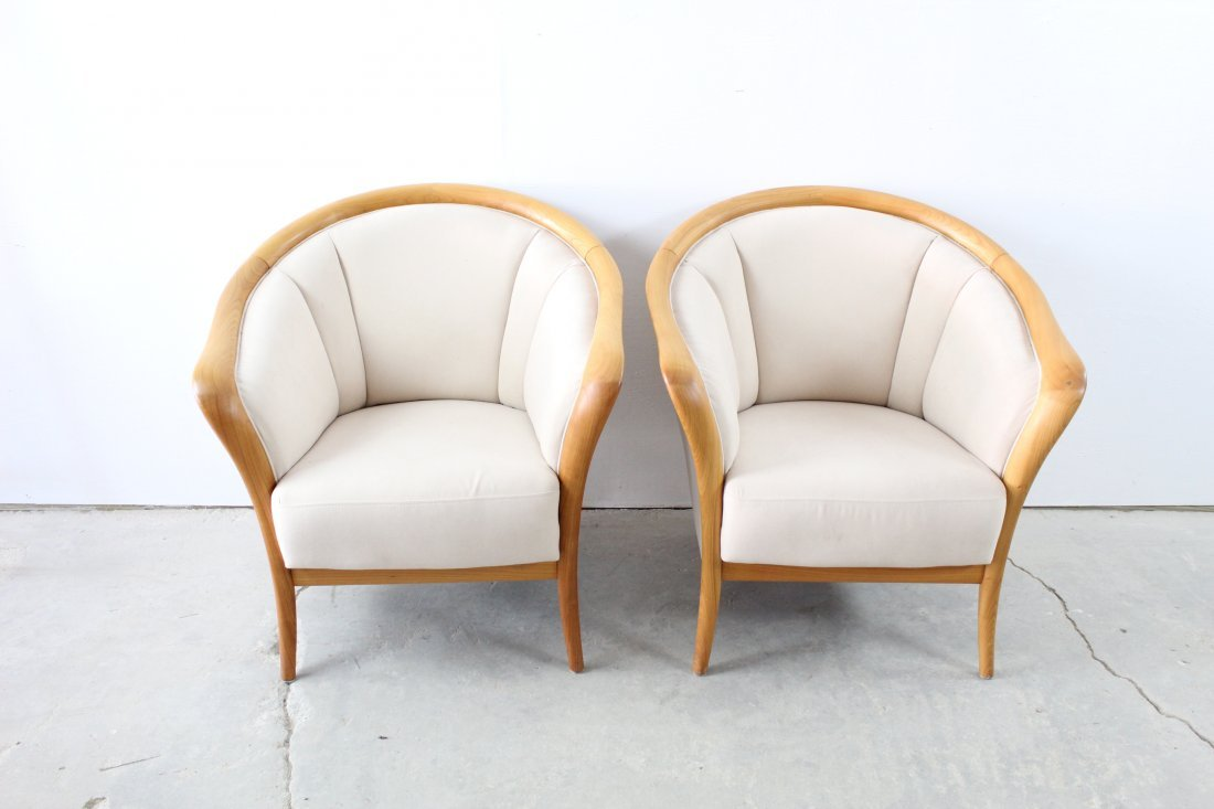 Pair MidCentury Modern Style Wood and Suede Club Chairs
