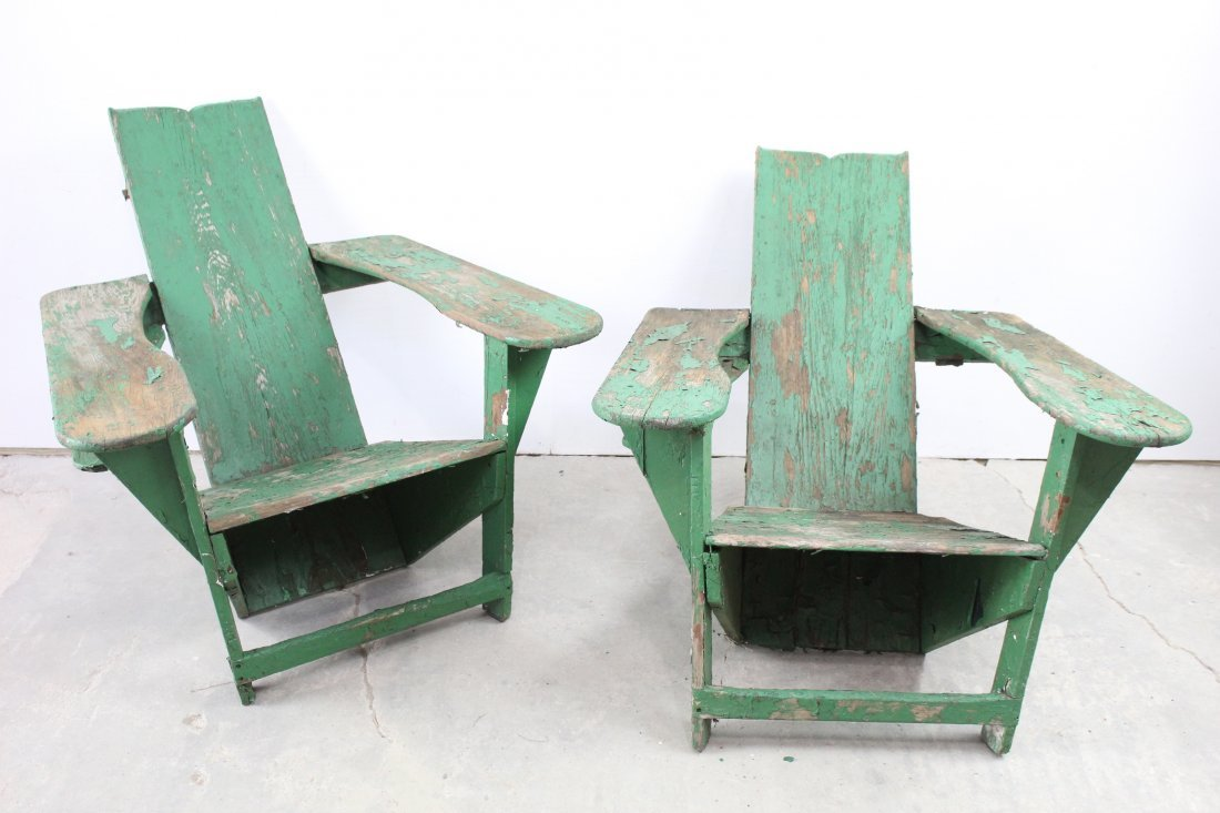 Original Pair Green Painted Westport Chairs As Found