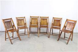 Set of 6 Antique Wooden Folding Chairs