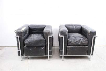 Pair of Leather Corbusier Lounge Chairs, Made in Italy