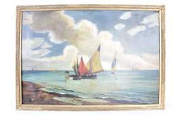Large Oil Painting of Sailboats,Signed & Dated 1909