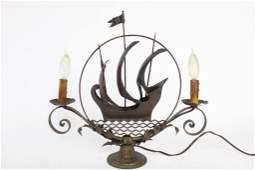Art Nouveau Table Lamp with Figural ShipCandelabra