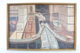 WPA Style Painting of Men Working in a Factory