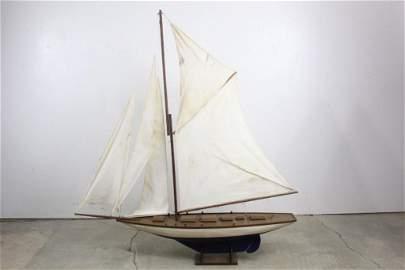 Large Folk Art Pond Boat Blue Painted Hull & Sails