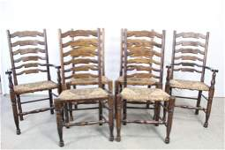 Set of 6 Contemporary Ladder Back Dining Chairs