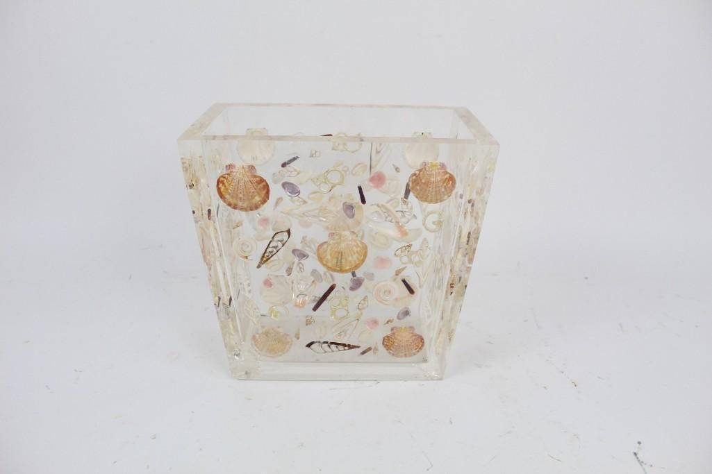 Mid Century Modern Lucite Trash Can Shells Embedded