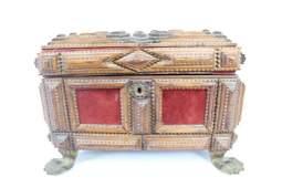 Antique Tramp Art Wood Box & Metal Claw Foot,Folk Art