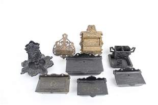 Lot of 8 Antique Cast Iron Match Safe Holders,Victorian