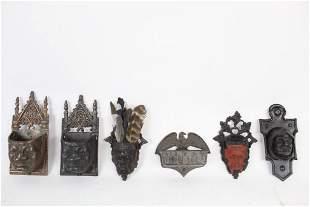 Lot of 6 Antique Cast Iron Match Safe Holder,Devil,Face