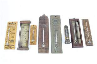 Lot of 8 Antique Wood Advertising Thermometer,Hudson,NY