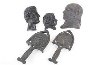Lot of 5 Cast Iron President Profiles & Trivet,Lincoln