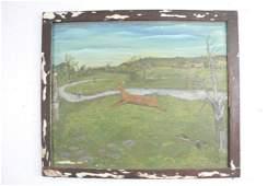 Framed Naive Primitive Folk Art Deer Painting,Hunting