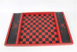 Antique Checker Board Gameboard with Folk Art Chickens