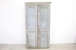 19th C. Antique Tall Blue Milk Paint 2-Door Cupboard