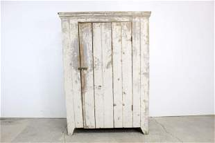 Antique 19th C. White Painted Jelly Cupboard Cabinet