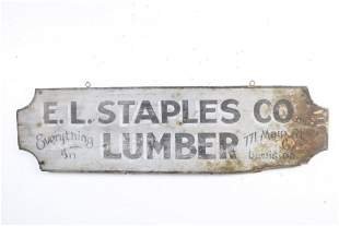Trade Sign from Staples Co Lumber Mill,Lewiston,Maine