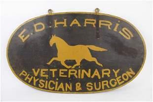 Antique 19th C. Veterinary Sign,Primitive Running Horse