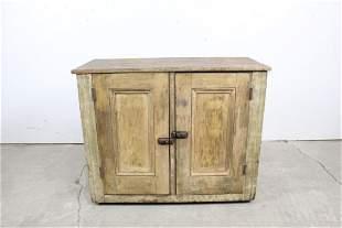 Antique 19th Century Low Wood Paneled 2-Door Cupboard