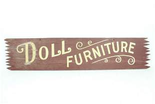 """Vintage Painted Plywood """"Doll Furniture"""" Store Sign"""