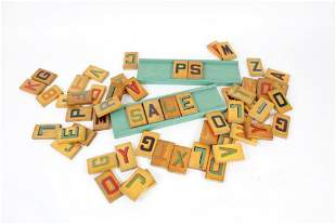 Set of Colorful Painted Wood Letters with Display Stand