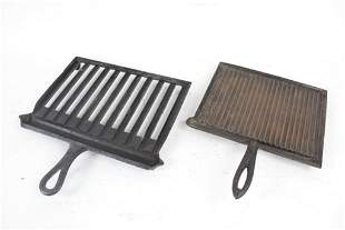 2 Cast Iron Handled Broilers, Gate Mark, 19th C