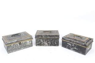 Lot 3 Antique Toleware Metal Document Boxes,Albany,NY