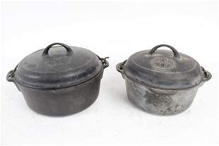 Pair Griswold Cast Iron Dutch Oven Pots, Lids Handles