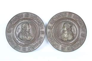 Pair Large Copper Relief Wall Plaques,Louis XIV & Wife