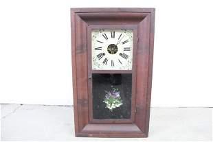 Antique Clark Gilbert Clock w. Floral Reverse Painting