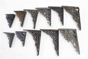 5 PAIRS of Antique Victorian Cast Iron Shelf Brackets