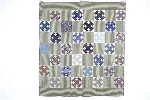 Antique handmade X-Pattern Indigo Calico Quilt,Folk Art