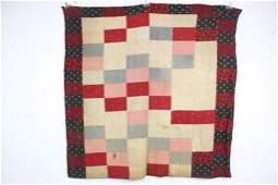 Antique Naively Made Block Pattern QuiltRedBlackStri