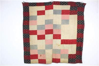 Antique Naively Made Block Pattern Quilt,Red,Black,Stri