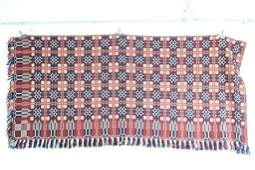 Antique 19thC RedWhite  Blue Patterned Coverlet Piece