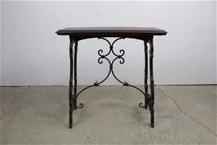 Spanish Revival Wrought Iron and Wood Side Table