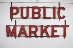 Large Antique Red Wood PUBLIC MARKET Seattle Sign