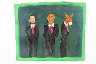 Earl Swanigan Outsider Art Painting of Lincoln, Obama