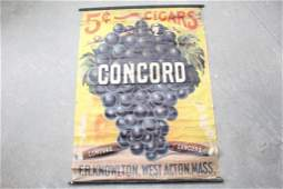 Antique Concord Cigars Advertising Poster Sign wGrapes