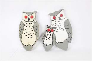 Painted Wooden Folk Art Owls with Red Reflector Eyes