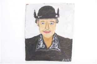 Earl Swanigan Outsider Art Painting of Bob Dylan,Folk