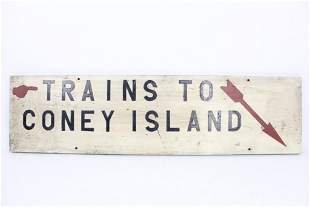 "Vintage ""Trains to Coney Island"" Sign,Arrow,Subway"