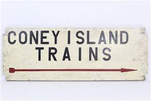 "Vintage ""Coney Island Trains"" Sign with Arrow,Subway"