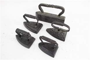 Lot of 5 Misc Antique Cast Iron Sad Flat Clothes Irons