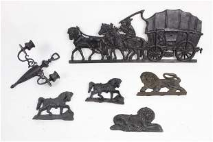 Lot of Cast Iron Plaques,Federal Lion,Stagecoach,Sconce