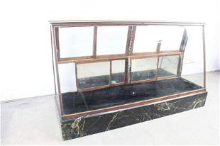 Large Glass Wood Marble Base Floor Showcase Display