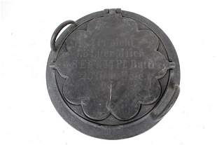 Antique German Cast Iron Waffle Iron with Recipe Cast
