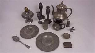 Lot of Antique 19th Cent. Pewter,Tea Pot,CandleSticks