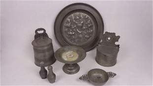 Lot of Antique 19th Cent. Pewter,Salt Box,Tray Platter
